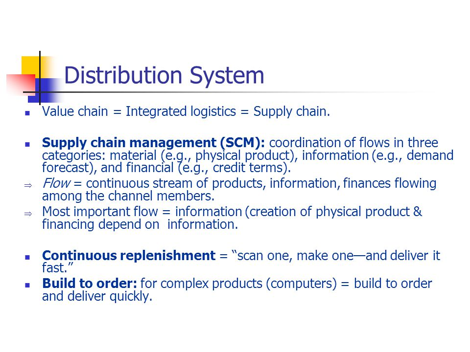 Distribution System Value chain = Integrated logistics = Supply chain.