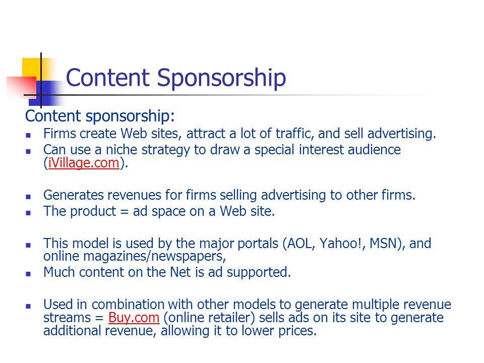 Content Sponsorship Content sponsorship: