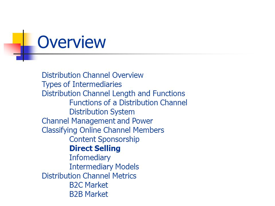 Overview Distribution Channel Overview Types of Intermediaries