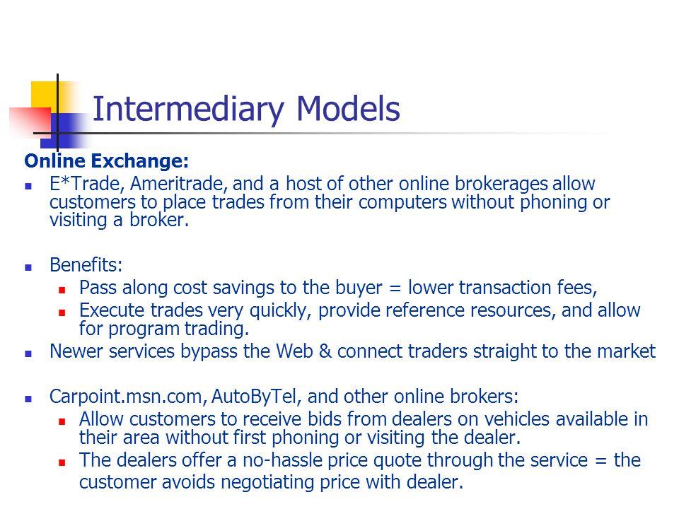 Intermediary Models Online Exchange: