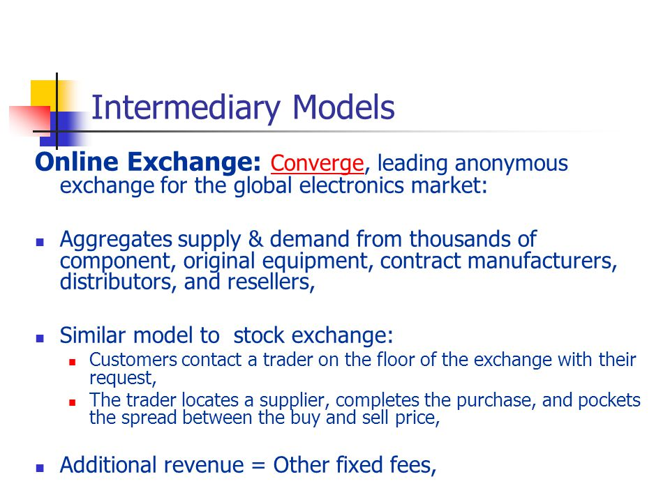 Intermediary Models Online Exchange: Converge, leading anonymous exchange for the global electronics market: