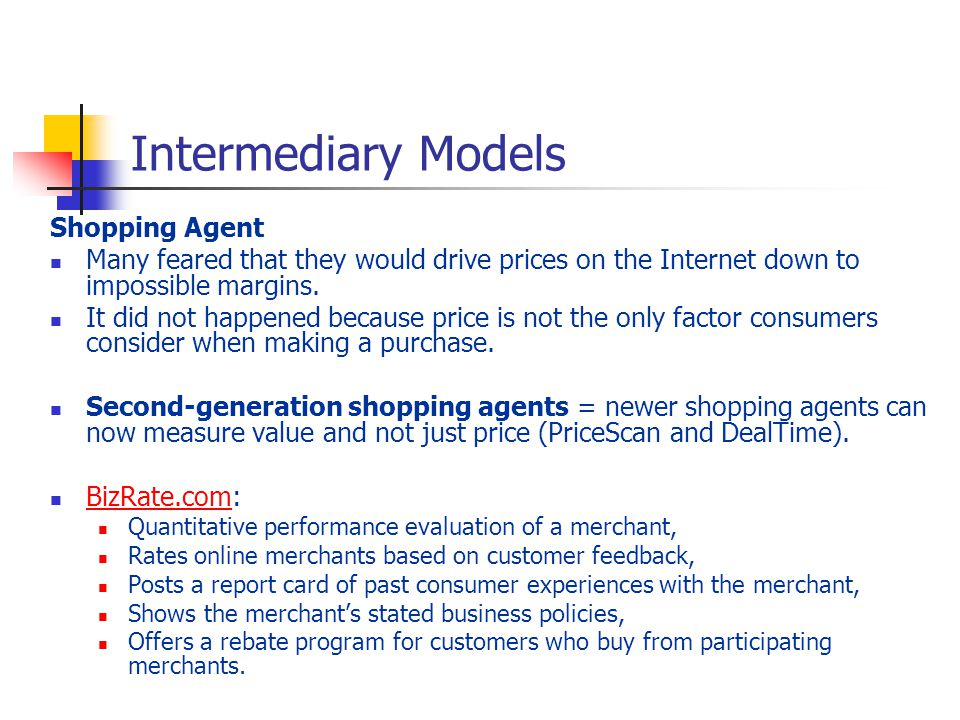 Intermediary Models Shopping Agent