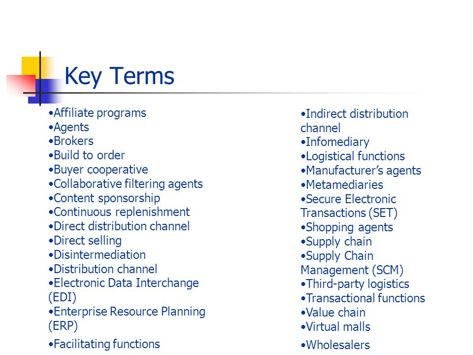 Key Terms Affiliate programs Indirect distribution channel Agents