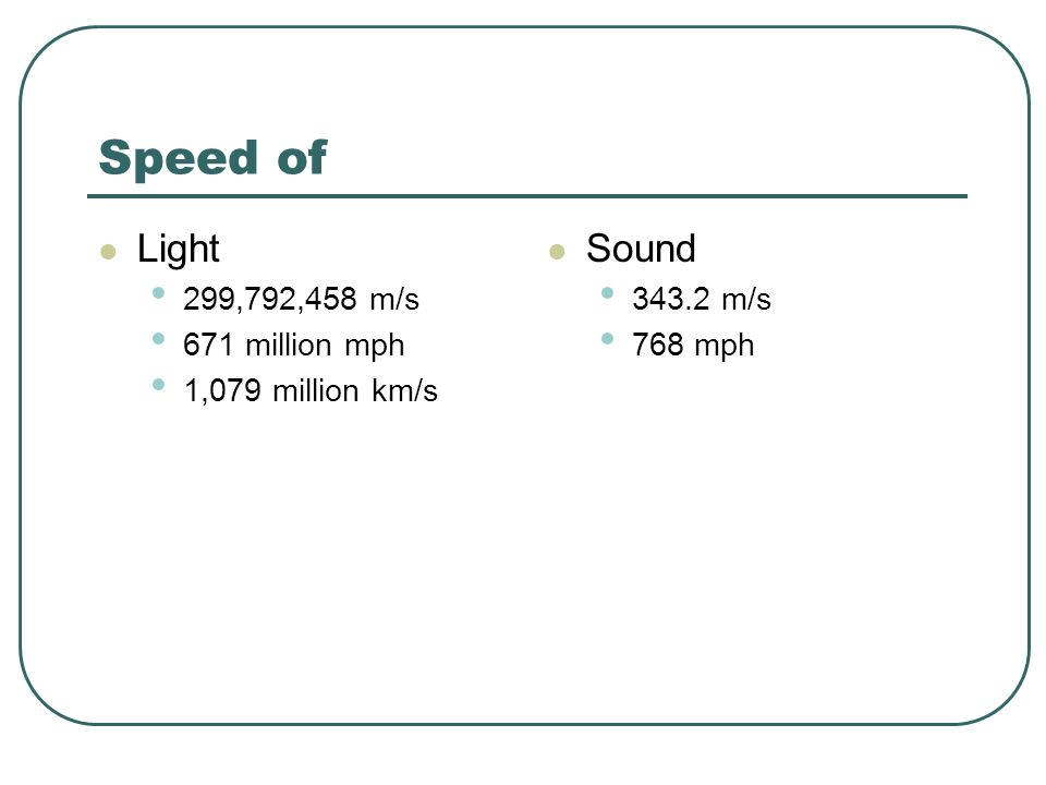 Speed of Light Sound 299,792,458 m/s 671 million mph