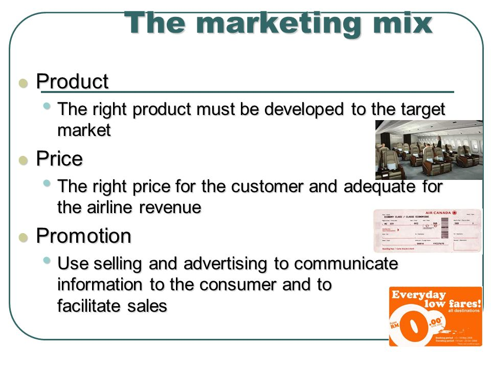 The marketing mix Product Price Promotion