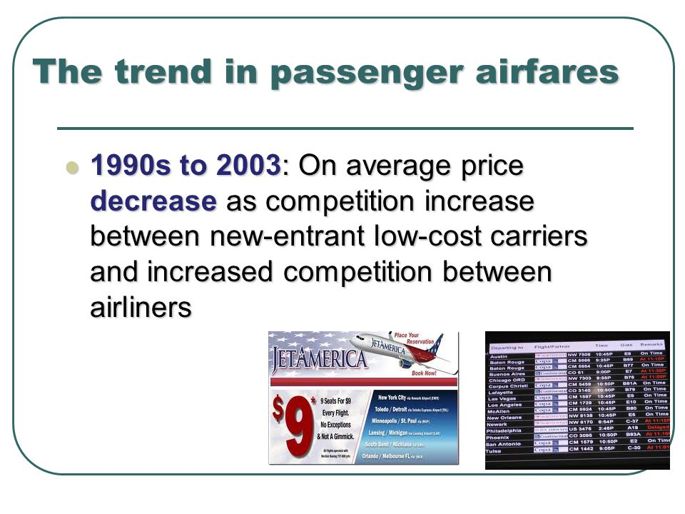 The trend in passenger airfares