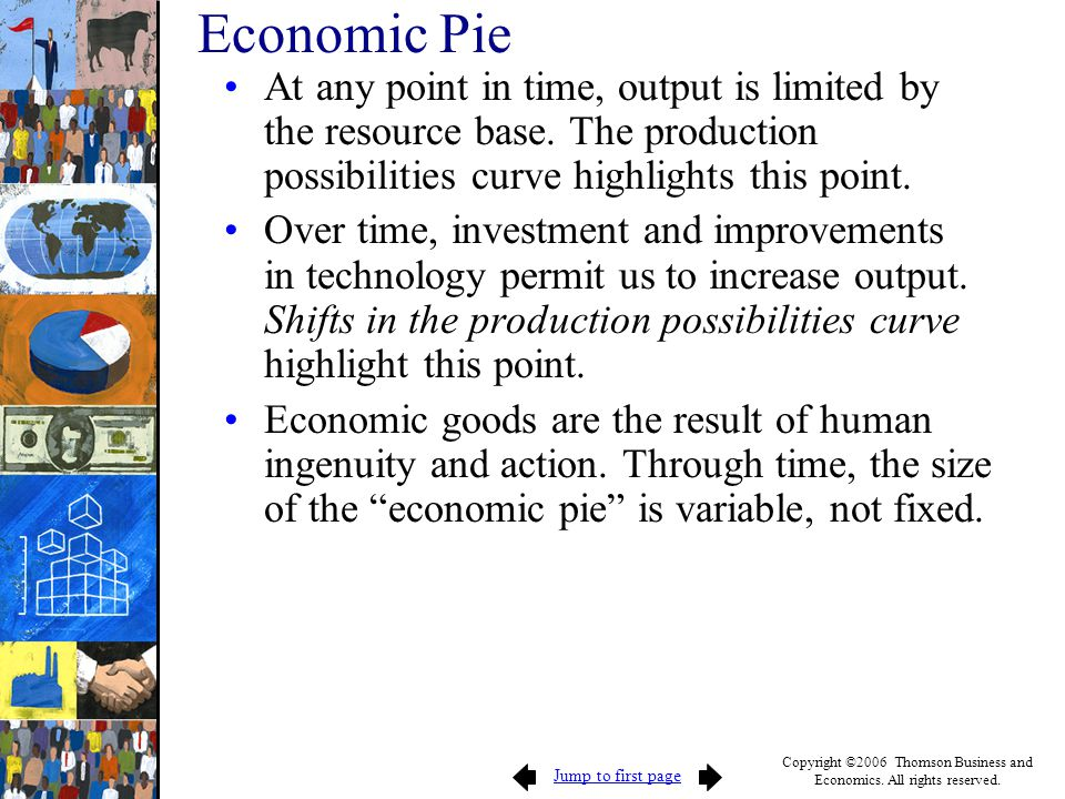 Economic Pie At any point in time, output is limited by the resource base. The production possibilities curve highlights this point.