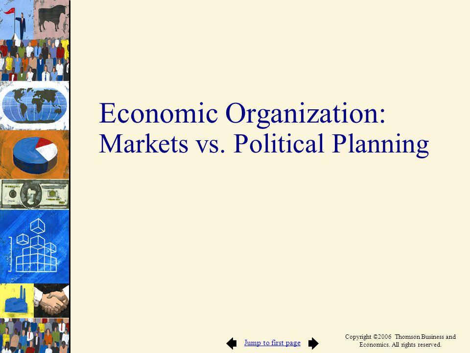 Economic Organization: Markets vs. Political Planning