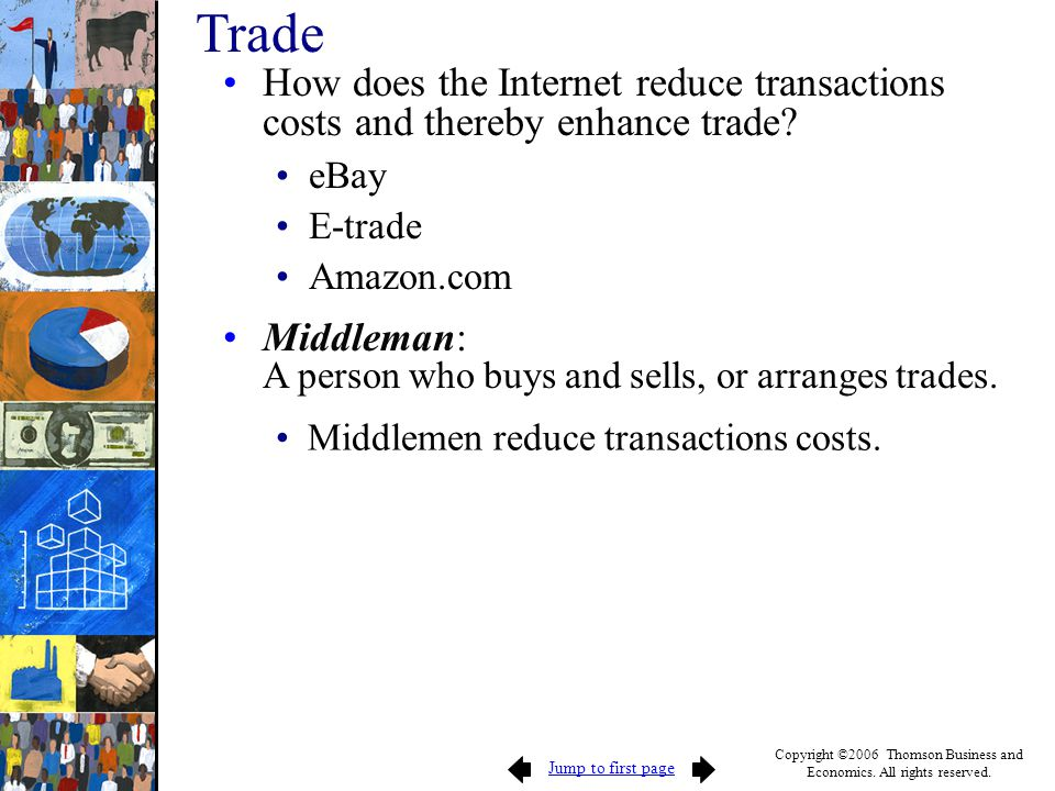 Trade How does the Internet reduce transactions costs and thereby enhance trade eBay. E-trade. Amazon.com.