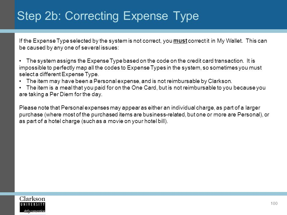 Step 2b: Correcting Expense Type