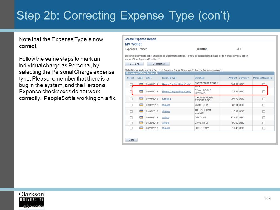 Step 2b: Correcting Expense Type (con't)