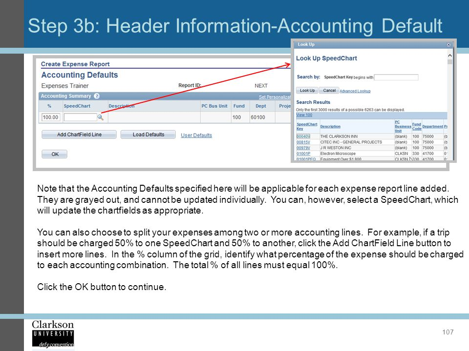 Step 3b: Header Information-Accounting Default