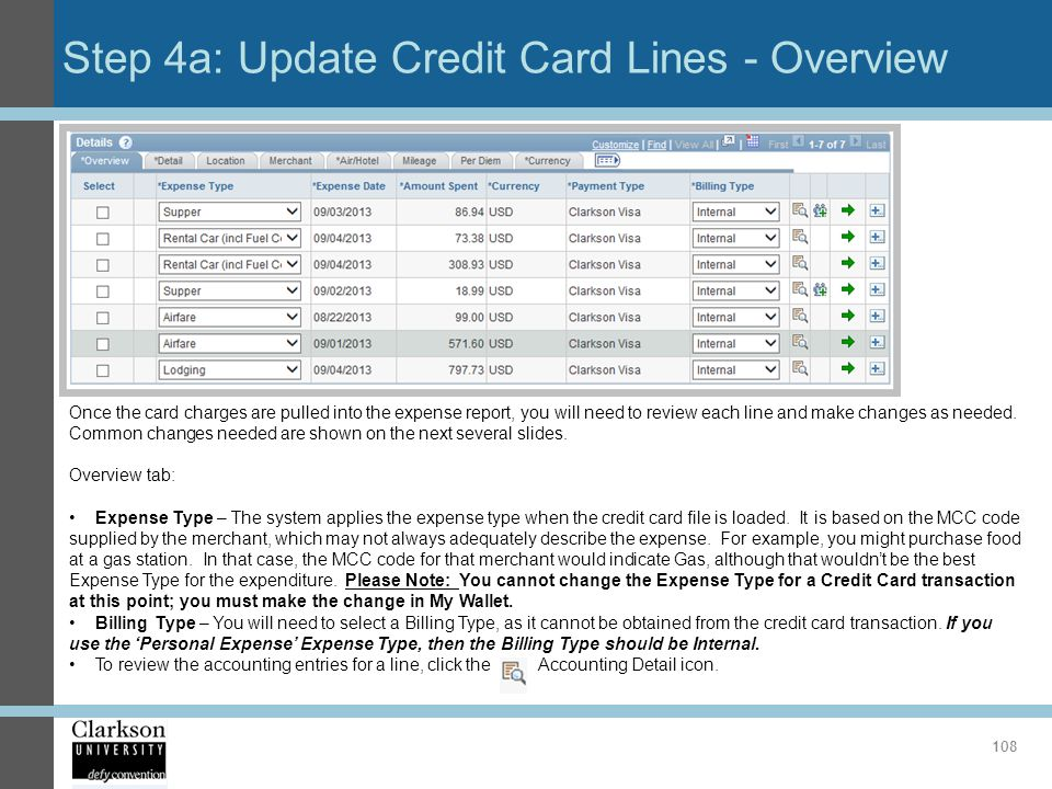 Step 4a: Update Credit Card Lines - Overview