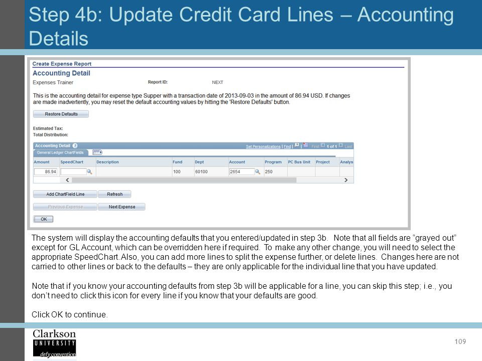 Step 4b: Update Credit Card Lines – Accounting Details