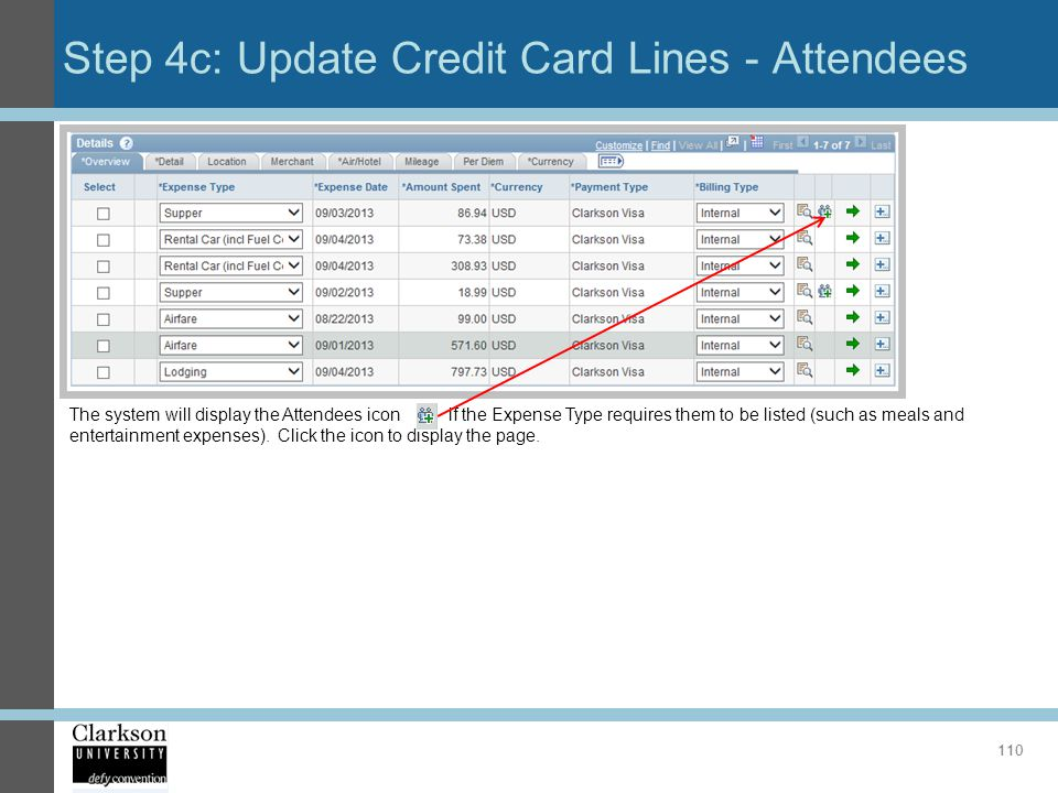 Step 4c: Update Credit Card Lines - Attendees