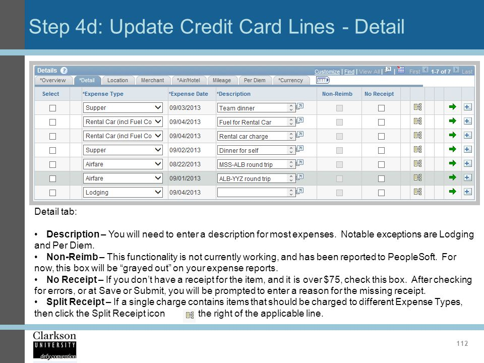 Step 4d: Update Credit Card Lines - Detail