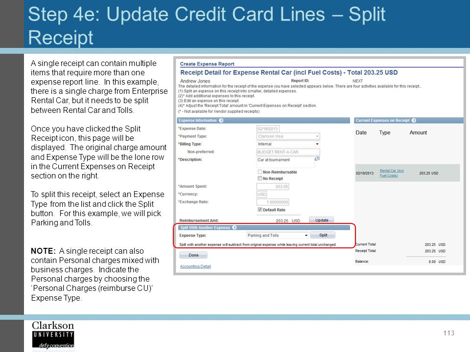 Step 4e: Update Credit Card Lines – Split Receipt