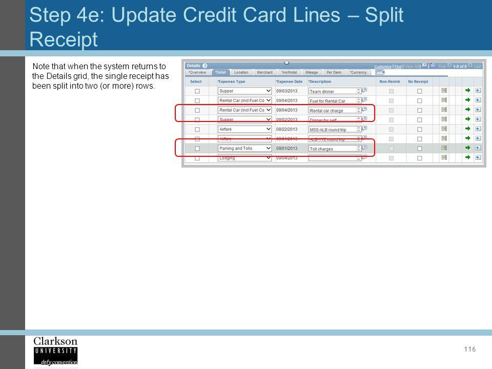 Step 4e: Update Credit Card Lines – Split Receipt