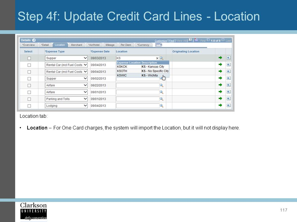 Step 4f: Update Credit Card Lines - Location