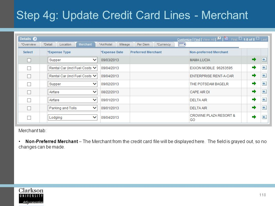 Step 4g: Update Credit Card Lines - Merchant