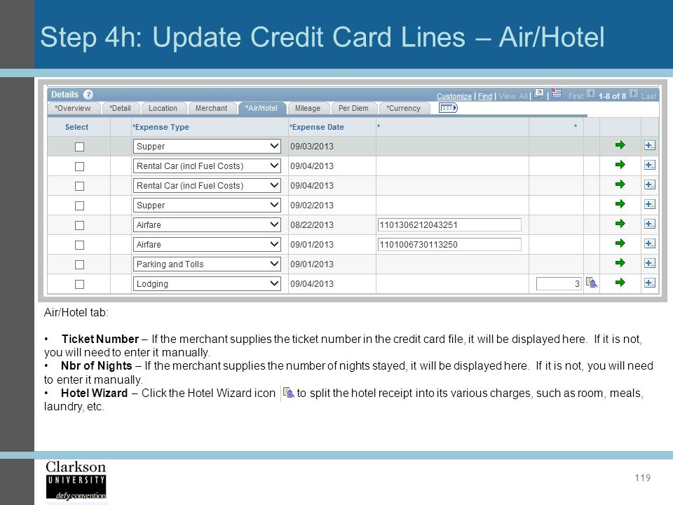 Step 4h: Update Credit Card Lines – Air/Hotel