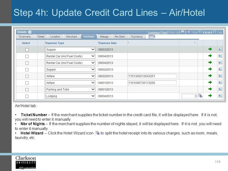 Step 4h: Update Credit Card Lines – Air/Hotel