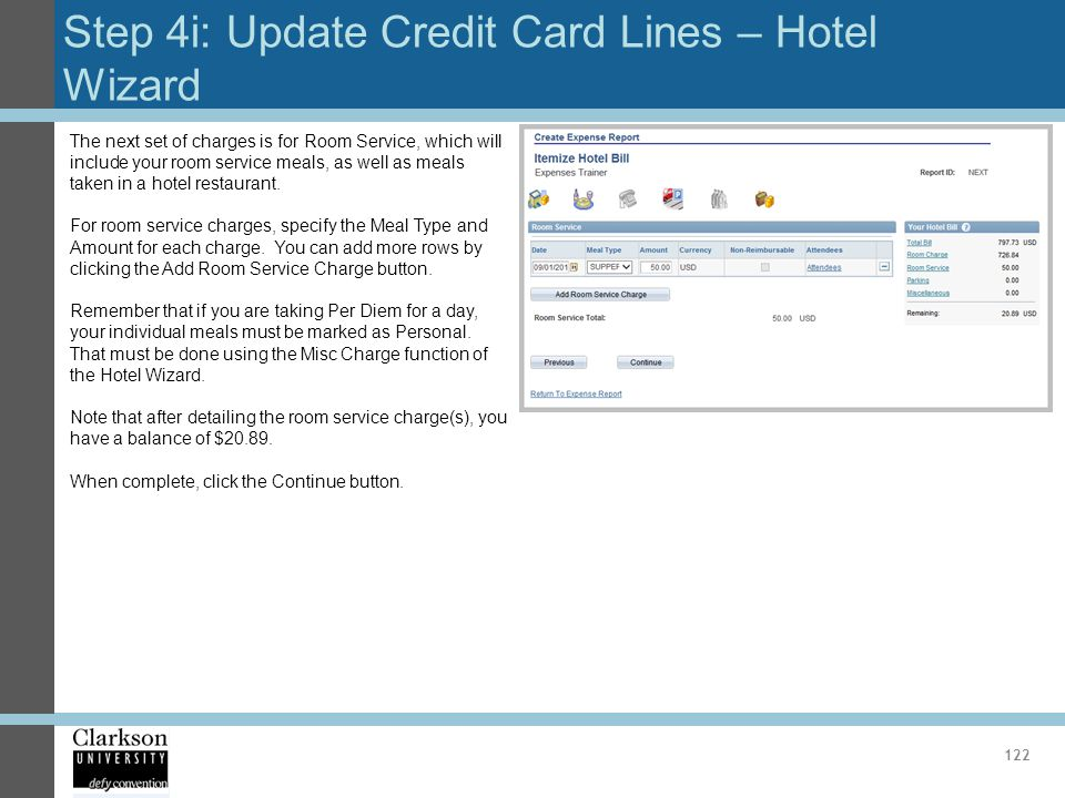 Step 4i: Update Credit Card Lines – Hotel Wizard