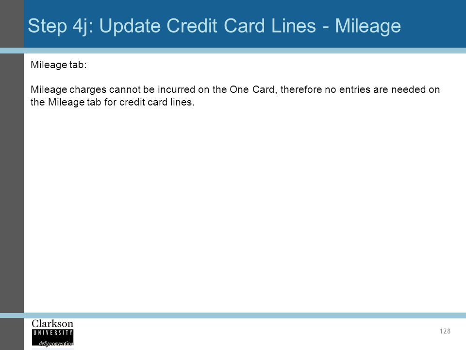 Step 4j: Update Credit Card Lines - Mileage
