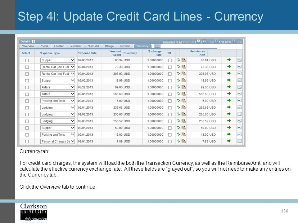 Step 4l: Update Credit Card Lines - Currency