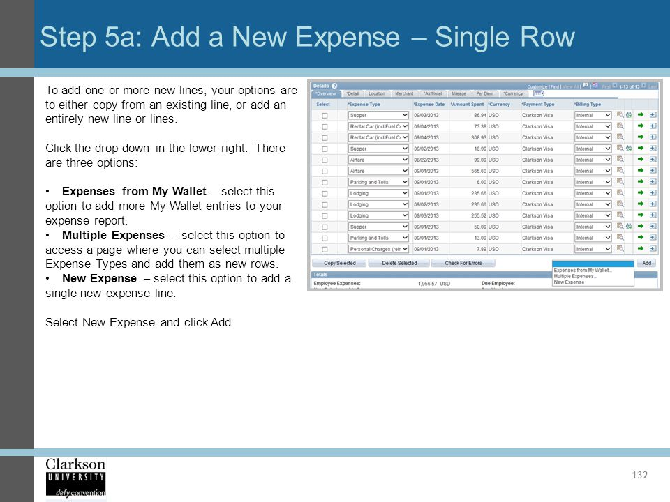 Step 5a: Add a New Expense – Single Row