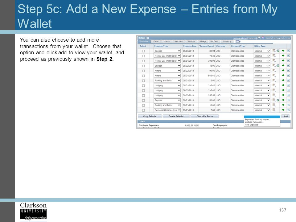 Step 5c: Add a New Expense – Entries from My Wallet