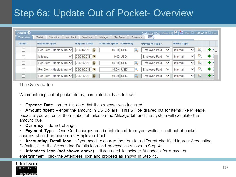 Step 6a: Update Out of Pocket- Overview