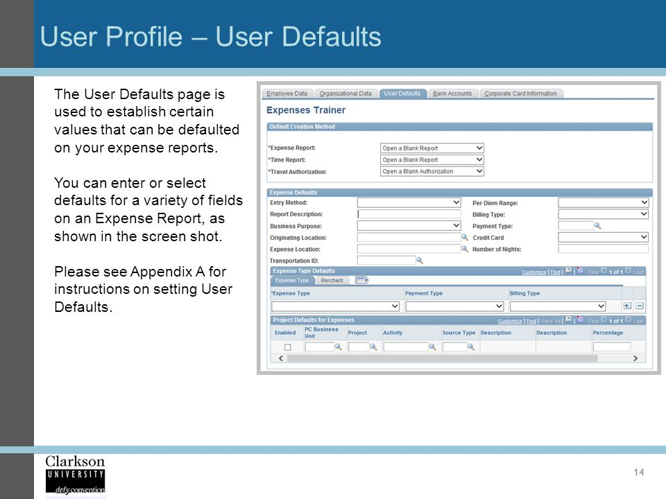 User Profile – User Defaults