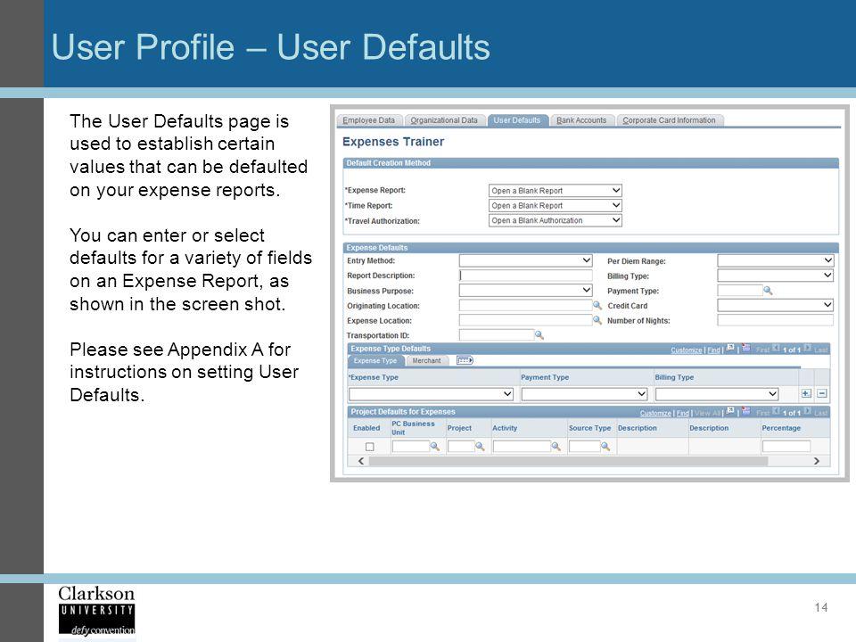 User Profile – User Defaults