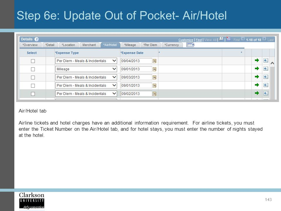 Step 6e: Update Out of Pocket- Air/Hotel