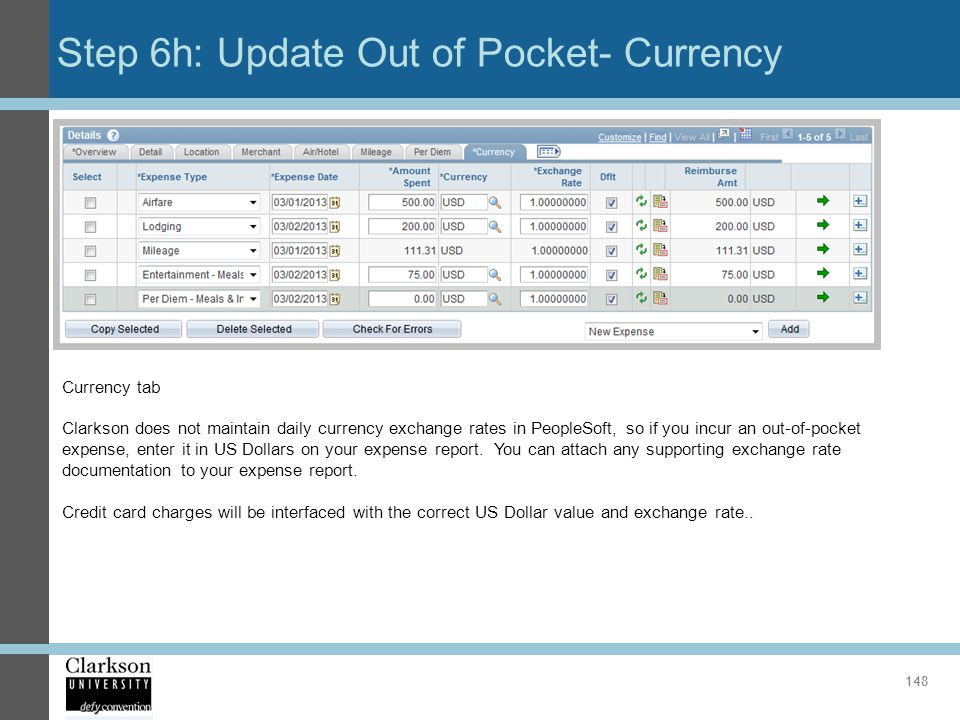 Step 6h: Update Out of Pocket- Currency