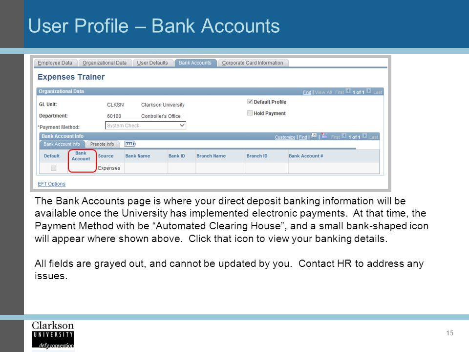User Profile – Bank Accounts