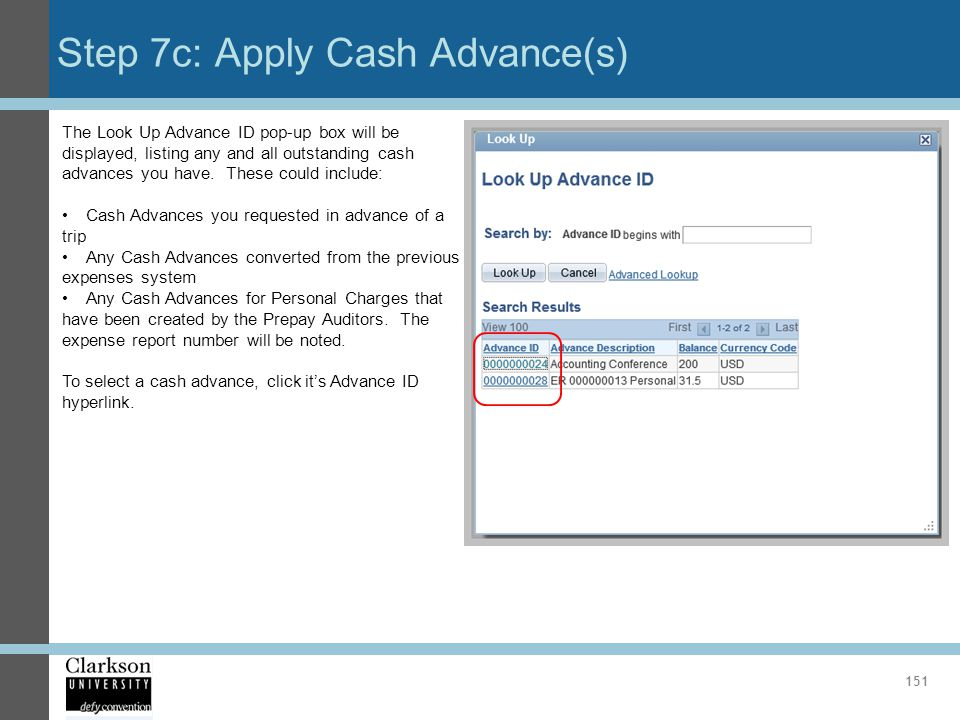 Step 7c: Apply Cash Advance(s)