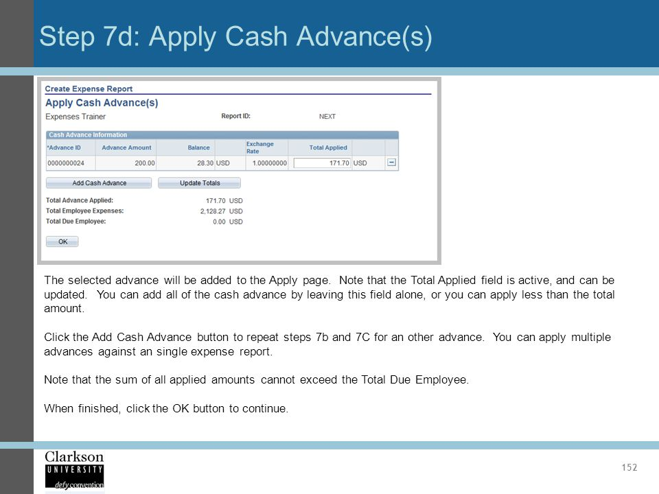 Step 7d: Apply Cash Advance(s)