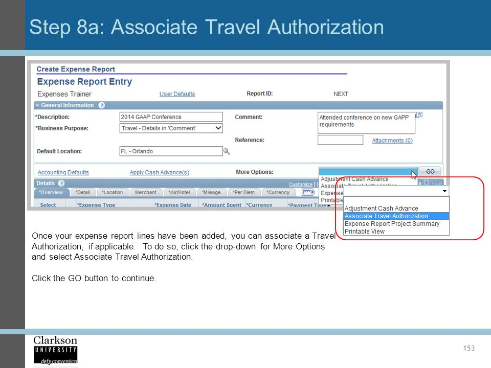 Step 8a: Associate Travel Authorization