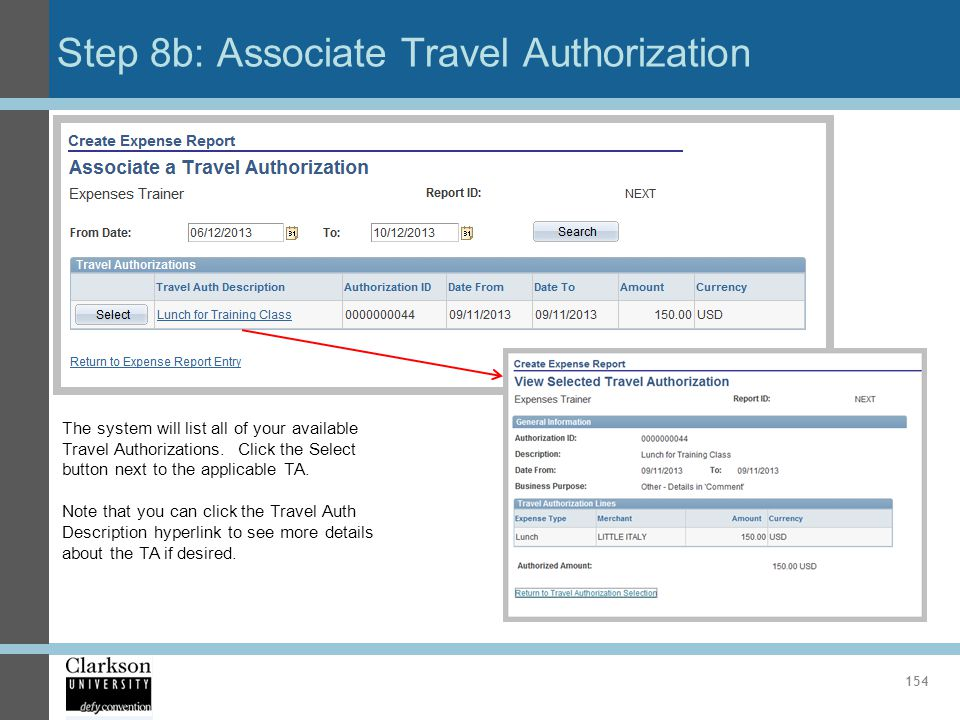 Step 8b: Associate Travel Authorization