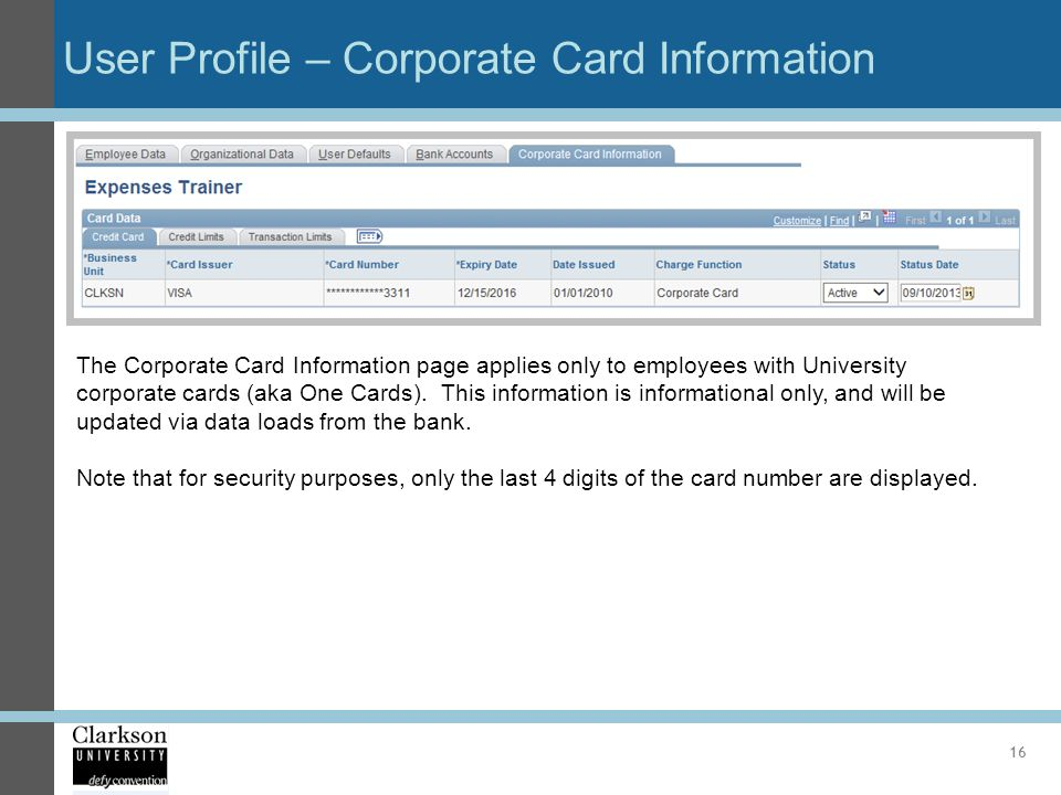 User Profile – Corporate Card Information