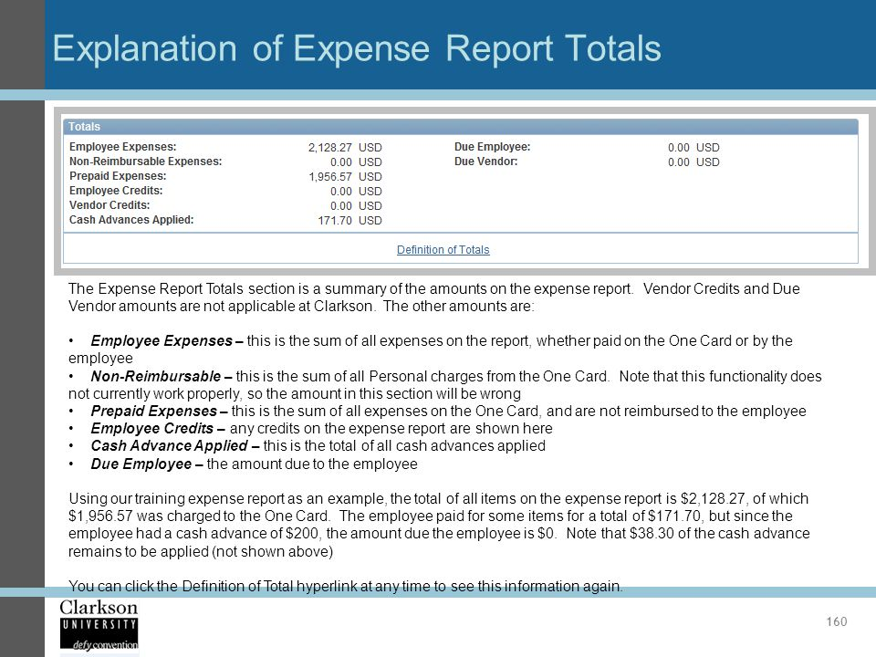 Explanation of Expense Report Totals