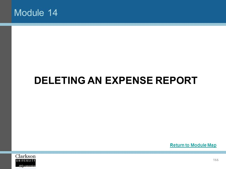 DELETING AN EXPENSE REPORT