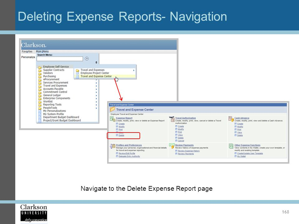 Deleting Expense Reports- Navigation