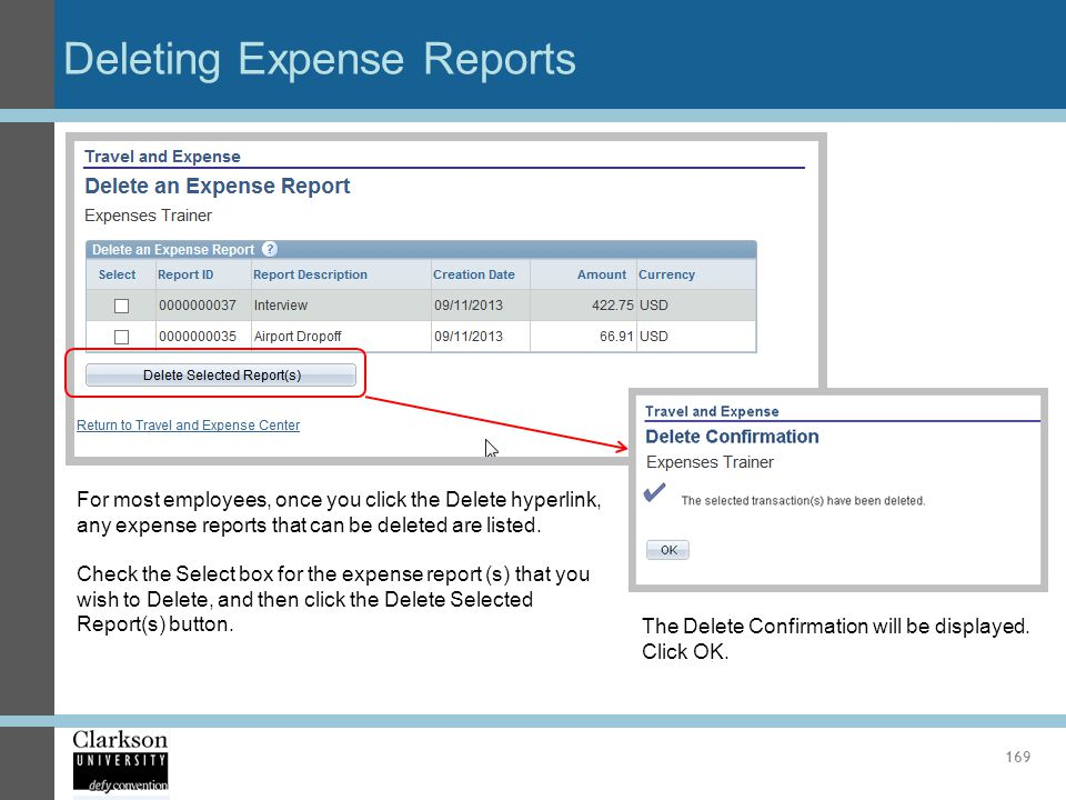Deleting Expense Reports