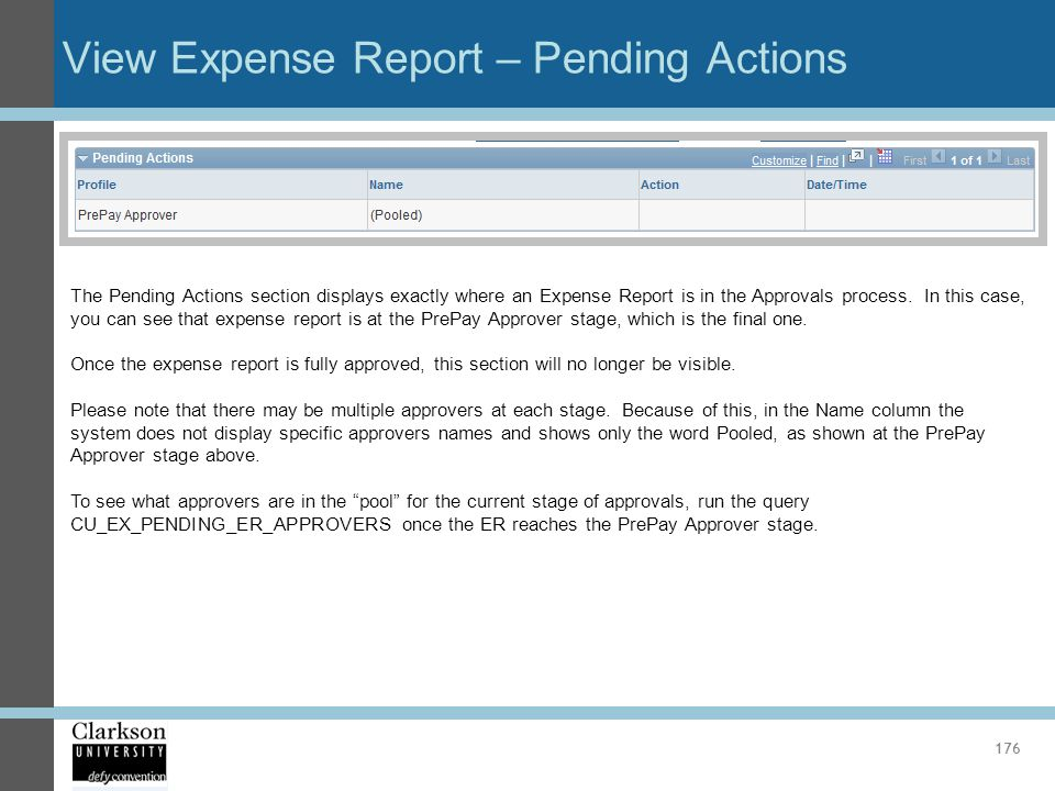 View Expense Report – Pending Actions