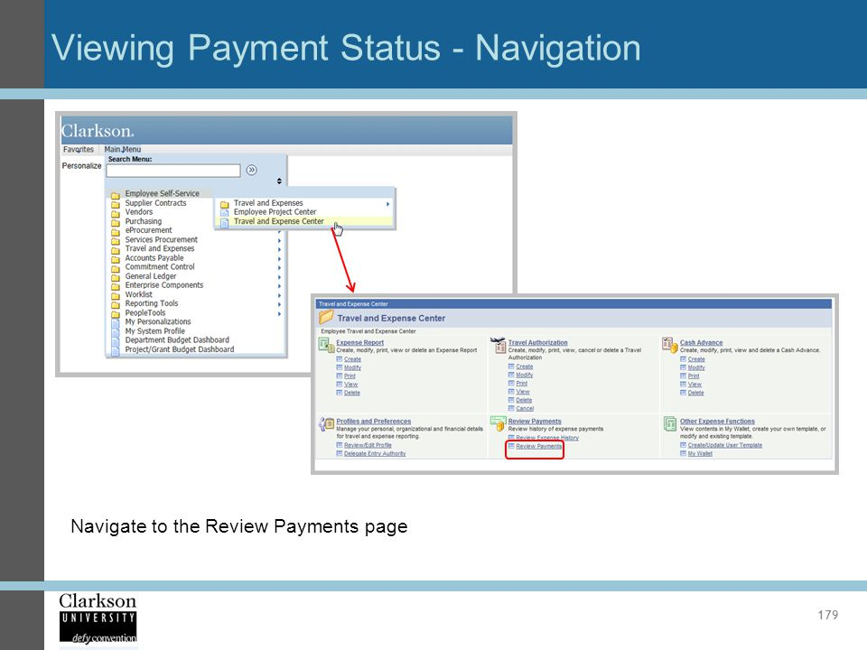 Viewing Payment Status - Navigation