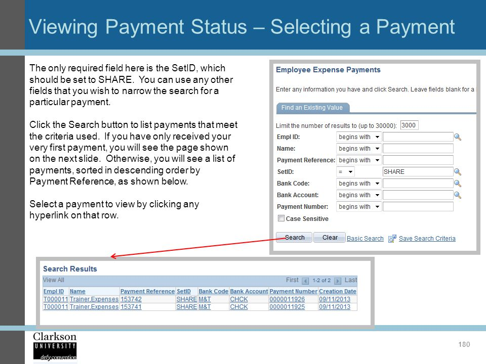 Viewing Payment Status – Selecting a Payment