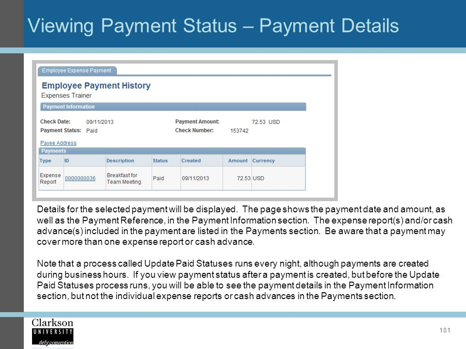 Viewing Payment Status – Payment Details